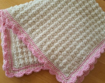 26x28 Baby Afghan,  Baby Blanket,  Stroller Blanket in Cream & Pink, READY TO SHIP.