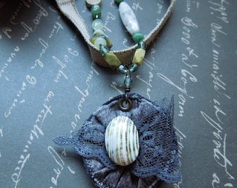Asymmetrical  Green Fabric Necklace with Green &  Gray Layered Fabric Pendant OOAK