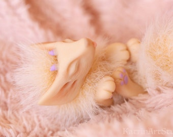 Dagon Fennec Fox toy pup - fantasy creature fantastic beast fantasy animal ooak doll poseable toy posable doll fairy soft sculpture