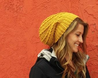CROCHET PATTERN PDF, Urban Spiral Women's Slouchy Hat , Teen beanie, Children's crochet hat pattern, instant download, yarntwisted
