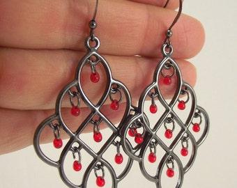Gunmetal Chandelier Earrings Red Glass Drops, Gunmetal Earrings
