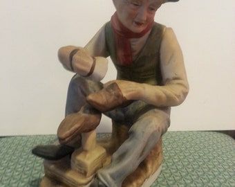 Vintage Samson Old Shoe Shine Man,ceramic figurine,samson figurine,home decor,farmhouse decor,bar decor,Fathers day gift,shoe collector