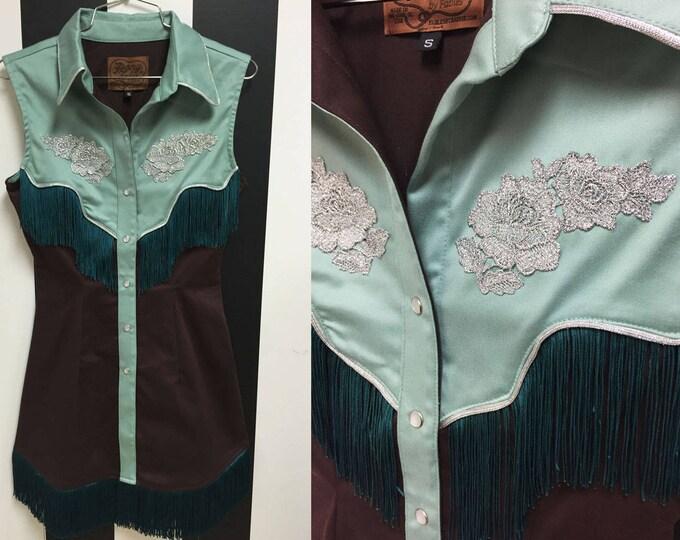 Riley Western Fringe Dress Brown/Sage Green with Teal Fringe