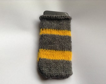 Gray and Yellow iPod Knit Cozy