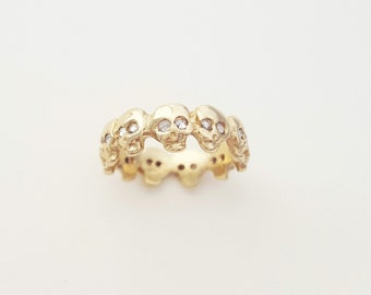 Georgian / Baroque Style Custom Skull Eternity Band w/ ROSE CUT DIAMONDS - Memento Mori - Wedding Band - Mourning Jewelry - Stacking Ring