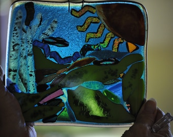"Fused and Mosaic Glass Art ""The Sea"""