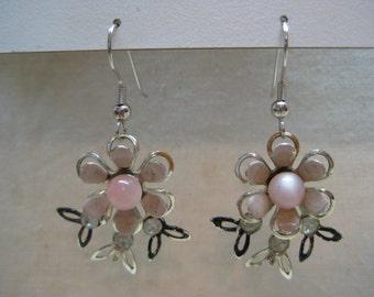Flower Pink Silver Earrings Pierced Wire Rhinestone Vintage Dangle