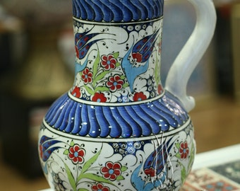 Iznik Design Handmade Ceramic Jug - Height : 30cm/12''