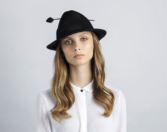 Black Unique Fedora Hat with a Feather , Fashionable Felt Hat  ,  Winter Hat  , Millinery Hand Crafted Hat , Womens Fedora Hat
