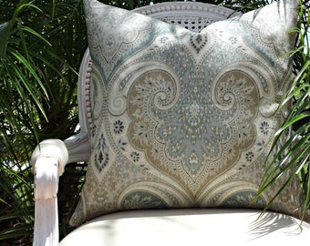 Kravet Latika Seafoam Custom Pillow Cover/ 20x20  Toss Pillow/  Designer Pillow/  Decorative Pillow/ Kravet Latika Linen Pillow