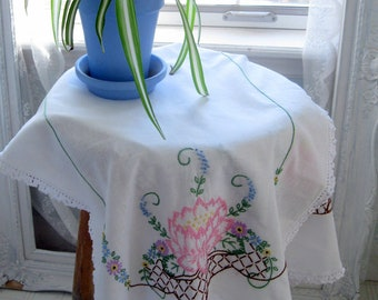 Embroidered Vintage Cotton Runner with Crochet Edge, Water Lilies Dresser Scarf, Handmade, Cottage Charm Runner, by mailordervintage on etsy