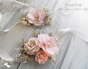Blush Pink ~ Wedding Bridal Corsage. Available in child and adult size.