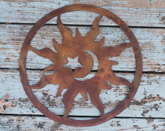Sun, Rustic Sunburst, Sun Moon and Stars, Sunburst Wall Hanging, Sunburst Yard art, Garden Ornament