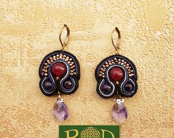 Elegant silk earrings with ruby!