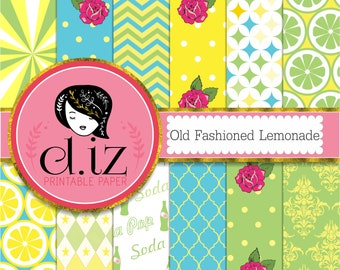 Green blue and yellow digital paper, 'old fashioned lemonade' backgrounds