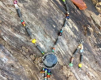 Manto huichol obsidian necklace with earrings
