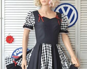 Vintage Womens Dress Rockabilly Square Dance Swing Full Skirt Black & White Checkered Costume Handmade OOAK 60s 70s Retro 40s 50s Small