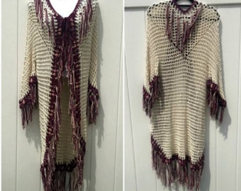 Tribal Open Poncho With Sleeves Fringed Native American Style Tribal Crochet Handmade Ready to Ship