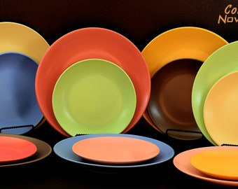 8 Ceramic dinner plates 4 dinner plates and 4 side plates mixed color & 12 Ceramic dinner plates Lovely matte colors set of 12 dishes