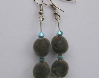 Hawaiian mgambo seed earrings with turquoise 2AB Swarovski crystal bicones