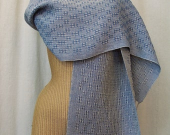 Denim Blue Linen Lace Scarf Handwoven Table Runner LS02