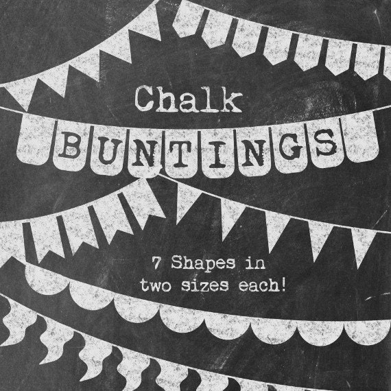 Chalkboard Buntings Clipart   Basic Chalk Banners   Simple / Versatile Flag  Banners In Chalk   Commercial Use Clip Art   Instant Download