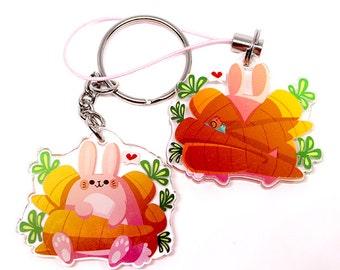 Cute Bunny Keychain, Cute Bunny Phone Charm, cute rabbit, rabbits, bunnies, kawaii, usagi, animal lover, easter, easter gift, easter bunny