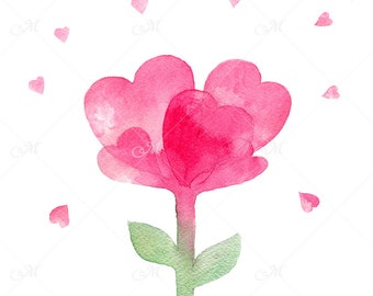 Pink Watercolor Flower / Mother's Day Art / JPEG+PNG / 300 dpi printable art