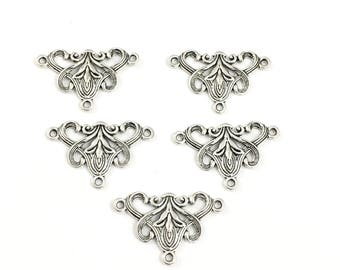 5 vintage flower multi connectors silver tone ,20mm x 31mm #CON 136