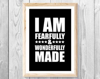 FEARFULLY & WONDERFULLY MADE - Lrg 11x17 Print, Christian Wall Art, Religious Gift, Bible, Comic, Black, Scripture, Jesus, God.