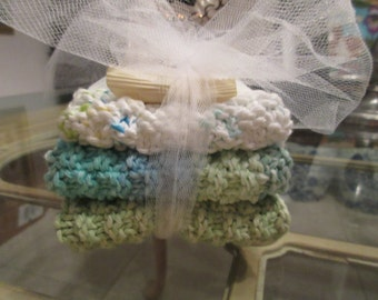 3 Coordinating Hand Knit Wash Cloths Or Dish Cloths With A 1.5 Oz. Bar of Almond Soap Gift Set. FREE Gift Wrap!