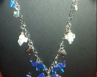 "Original necklace with ""the blue elephant""handmade for women."