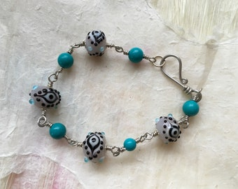 Eye Bead and Turquoise Sterling Linked Bracelet