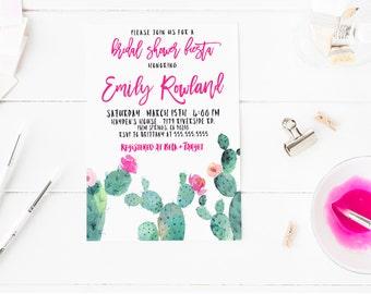 Cactus Invitation, Fiesta Bridal Shower Invite, Hot Pink, Watercolor, Printable Invites [220]