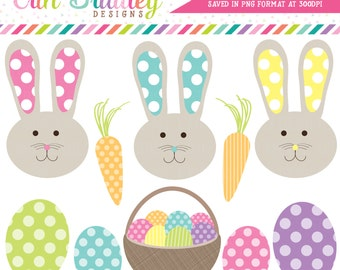 Easter Bunnies and Eggs Holiday Clipart Clip Art Personal & Commercial Use