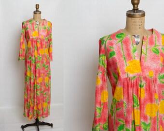 1970s caftan dress | vintage kaftan yellow rose print