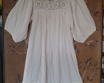 80s ivory cheesecloth bat wing boho hippie dress with crochet neck