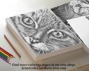 Adult Coloring Page, coloring pages, Instant download coloring, Cat coloring page, coloring page, coloring for adult, Printable coloring