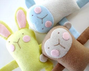 Bunny, Sheep & Monkey Felt Softies Sewing Pattern - PDF ePATTERN