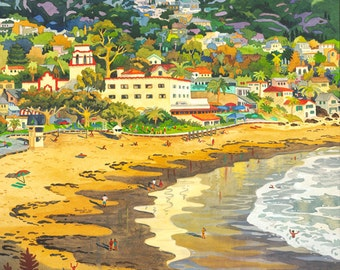 Painting of Laguna Beach,  Main Beach, Laguna, Hotel Laguna, Seascape of Laguna