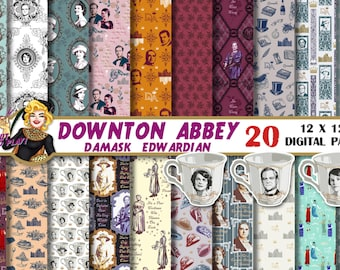 Downton Abbey Digital paper, Downton Abbey clipart, Downton Abbey party, Violet Crawley, quotes, invitation, patterns, scrapbook, decor