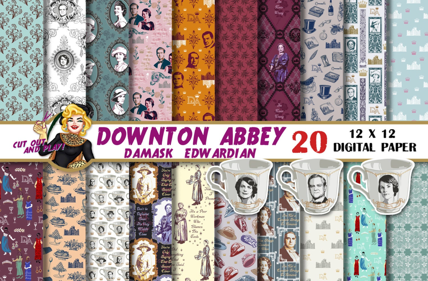 Downton abbey digital paper downton abbey clipart downton zoom monicamarmolfo Image collections