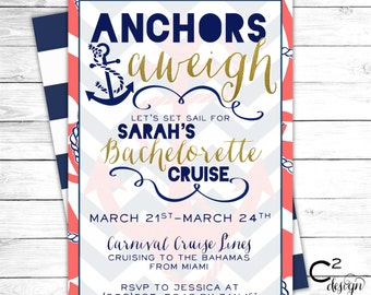 Anchors Aweigh Bachelorette Cruise Invitation