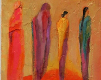 """original oil painting Memories of the walk 8""""x10"""" textured canvas ready to frame. Southwestern painting Jan Smiley"""