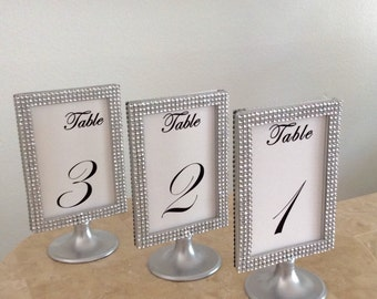 10 Silver Bling Silver Pedestal Display Photo Frames 4x6 Two Sided Perfect for Table Signs for Weddings or Special Events