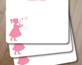 Forever Blowing Bubbles, Personalized Stationary, Silhouette Flat Note Cards, Set of 10, Professionally Printed