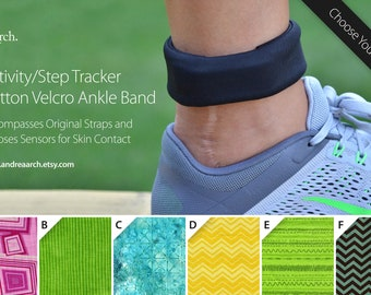 Geometric Print Activity/Step Tracker 100% Cotton Ankle Band – Encompasses Original Straps and Exposes Sensors for Skin Contact
