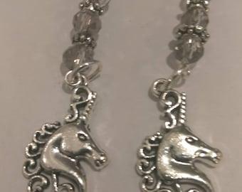 Unicorn Earrings with Brown Beads