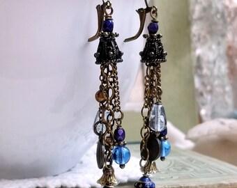 Blue Czech glass earrings Boho chic Czech glass Vintaged inspired Blue jewelry OOAK earrings Dangling earrings