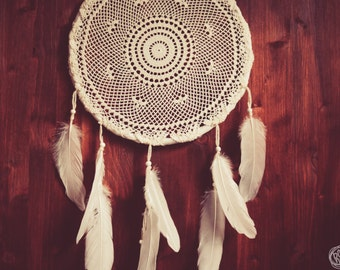 Dream Catcher - Pure Circles - With White Crochet Web and Pure White Feathers - Boho Home Decor, Nursery Mobile